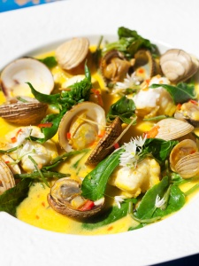 Michael O'Meara - Monkfish and clams in saffron nage