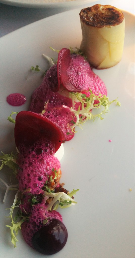 Goats cheese and beetroot starter at Glenlo Abbey